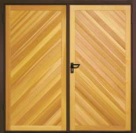 Garador Chevron Cedar Timber Panel Side-Hinged Garage Door