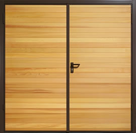 Garador Horizontal Cedar Timber Panel Side-Hinged Garage Door